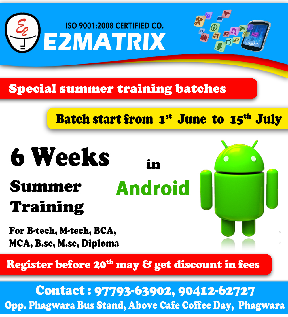 Android training in punjab by e2matrix chandigarh city bpc8handroidg 1betcityfo Image collections